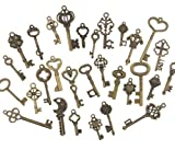 Swity Home 120 Pack Skeleton Keys, 30 Keys in Antique Bronze, Charm Set DIY Handmade Accessories Necklace Pendants, Set of 120 Keys