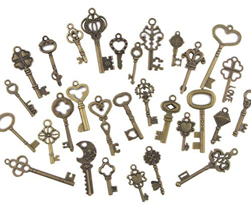 (Swity Home 120 Pack Skeleton Keys, 30 Keys in Antique Bronze, Charm Set DIY Handmade Accessories Necklace Pendants, Set of 120)
