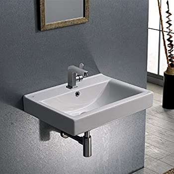 Image of Home Improvements CeraStyle 064200-U-One Hole Mona Rectangular Ceramic Wall Mounted/Self Rimming Bathroom Sink, White