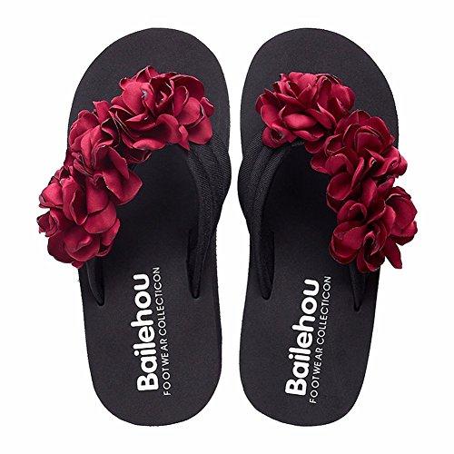 Haut Mred Ladies' Sandales D'Antidérapage en Chaussons Fleur Talon Été YUCH q6zwXfxFF