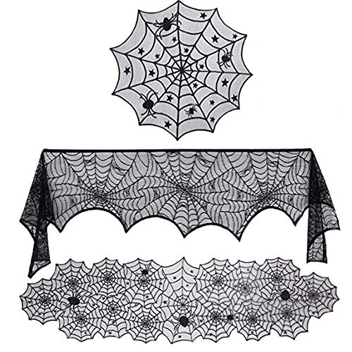 Diy Halloween Mantel Decor (Hoocozi 3 Pack Halloween Decorations Set, Halloween Mantel Scarf, Fireplace Cover, Round Lace Table Cover Black Lace Spider)