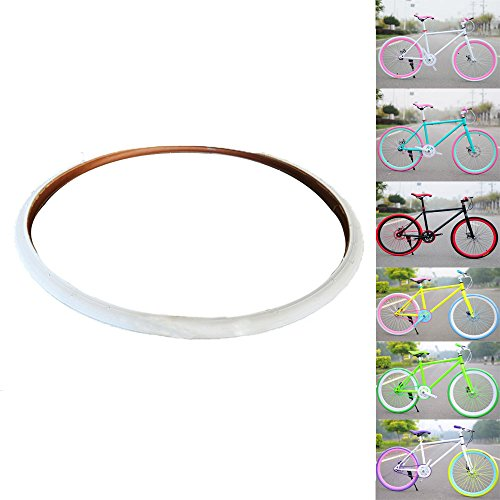 OLizee Fixed Gear Single Speed Fixie Road Track Bike 700X23C Colored Tires(White)