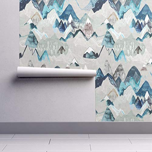 Peel-and-Stick Removable Wallpaper - Mountain Mountain Wilderness Hiking Mountain Adventure Awaits Blue and by Nouveau Bohemian - 24in x 96in Woven Textured Peel-and-Stick Removable Wallpaper Roll Blue Mountain Blue Textured Wallpaper