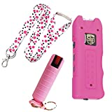 Multi Guard College Safety Bundle: Safety Technology Pink 20 MIL Stun Gun, Pepper Shot 10% Pepper Spray and a 36 Inch Lanyard - Lot of 3 as Shown