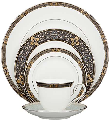 Lenox Unisex Vintage Jewel 5 Piece Boxed Set White Dinnerware - 104291602 - Includes dinner plate, salad/dessert plate, bread and butter plate, teacup, and saucer Elegant formal place setting with intricate border Crafted from Lenox fine bone china - kitchen-tabletop, kitchen-dining-room, dinnerware-sets - 51y1x4f87uL -
