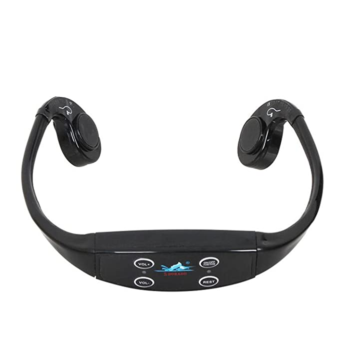 Multifunctional Head Exercise Bone Conduction Teaching Headset MP3 Waterproof Swimming Headset (Color : Black)