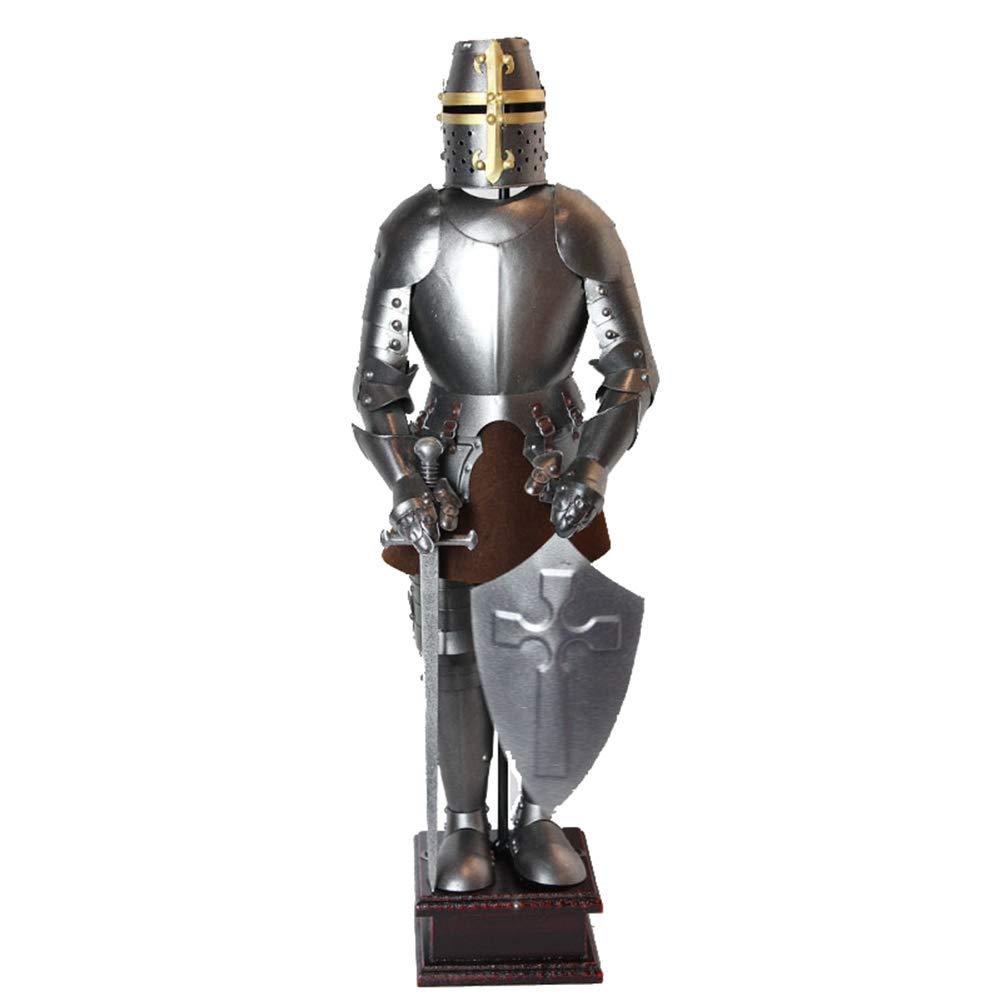 Mittelalterliche Ritter-Statue, gotische Statue der Ritter-Kreuzfahrer-Schwertkämpfer-Ritter-Statue der Wache des Königs überqueren schwere Infanterie