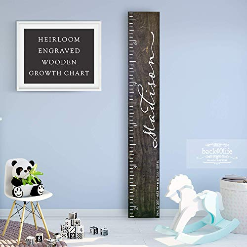 - Back40Life - Heirloom Engraved Series - (The Madison) wooden growth chart height ruler