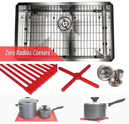 30 INCH Zero Radius Design 16 Gauge Undermount Single Bowl Stainless Steel Kitchen Island Sink Premium Package, Stainless Steel (30 INCH) KKR-F3018 (Package Stainless Sink)