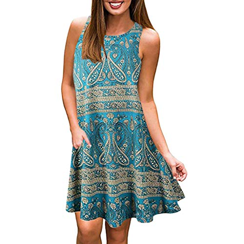 Easy Dress Tunic - VonVonCo Dresses for Casual Summer Womens Crew Neck Printed Sleeveless Casual Tunic Tops Summer Swing Dress Blue