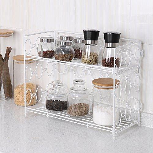 - NEX 2 Tier Spice Rack Wall Mount Countertop Organizer Spice Jars Bottle Holder Metal White (NX-DB050A)