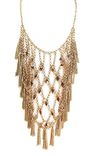Madison Kate Fashion Vintage Water Fall Beaded Gold Tone Fringe Necklace