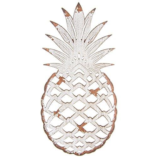 (Distressed White Pineapple Metal Cutout Wall Decor Aloha Hawaii Theme Picture Perfect Pineapples)