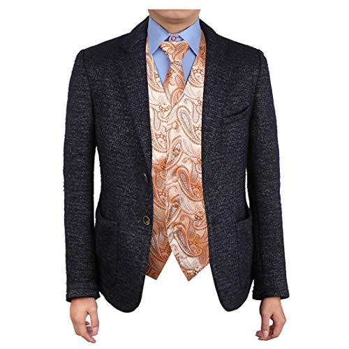 Epoint EGD1B07D-XL Beige Brown Paisley Vest Microfiber Dress Tuxedo Vest Neck Tie Set Happy World ()