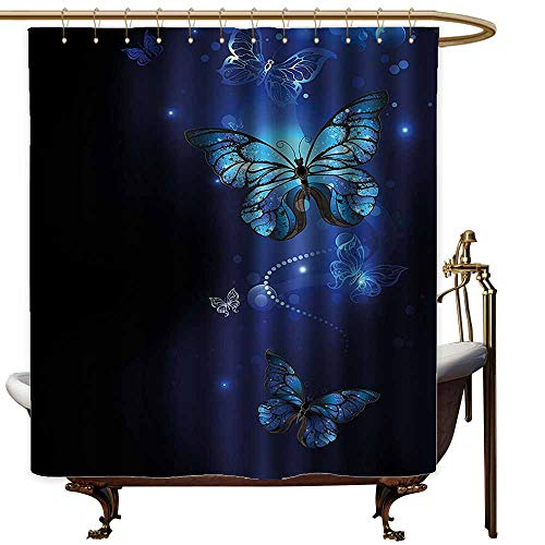Godves Fabric Shower Curtain,Dark Blue Fantasy Magical Butterflies Monarch Artistic Morpho Inspiration Animal,Shower Hooks are Included,W108x72L,Cobalt Blue -