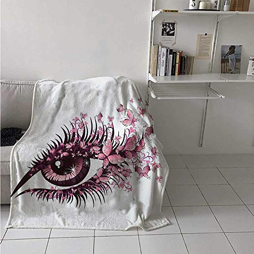 Butterflies Lightweight Blanket Fairy Female Eye with Butterflies Eyelashes Mascara Stare Party Makeup Digital Printing Blanket 50x30 Inch Pale Pink Purple