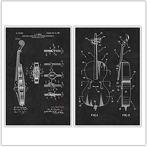 Cello Posters, Cello Art, Music, Musical Instrument, Patent Prints, Blueprint Poster - set of 2 posters