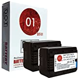 DOT-01 2X Brand 2400 mAh Replacement Panasonic VW-VBK180 Batteries and Charger for Panasonic HC-V500M Camcorder and Panasonic VBK180