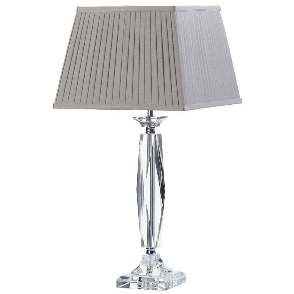 1 Light Glass Cut Table Lamp with Grey Pleated Box Shade