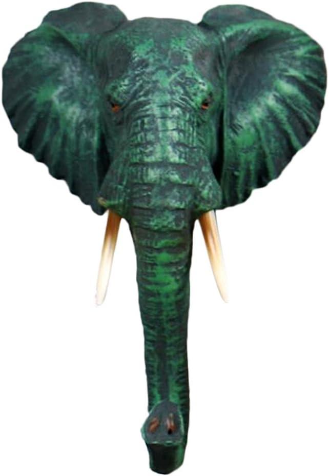 Cabeza De Gancho Animal Retro - Gancho Montado En La Pared Percha Figura De Resina Elegante Lamentable - Elefante