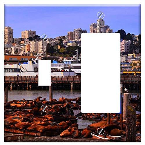 1-Toggle 1-Rocker/GFCI Combination Wall Plate Cover - San Francisco California Pier 39 Seal ()