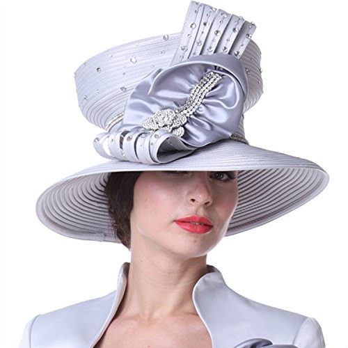 Kueeni Women Hats Church Hats Top Crown Big Bow Silver at Amazon ... 31a7289a38b