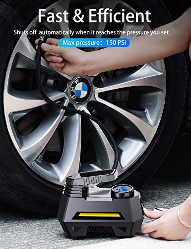 JOYROOM Portable Air Compressor Tire Inflator - Car Tire Pump with Digital Pressure Gauge (150 PSI 12V DC), Bright Emergency Flashlight - for Auto, Trucks, Bicycles, Balls by JOYROOM (Image #2)