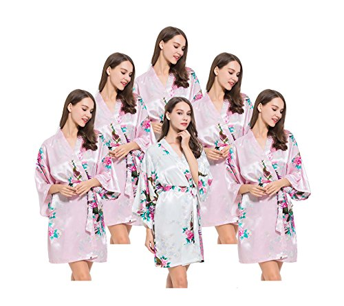 6 Floral Peacock Satin Bridesmaids Robes, OSFM fits Sizes 0-14, 5 Pink, 1 White, by Modern Celebrations by Modern Celebrations