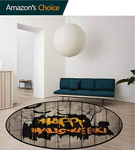 RUGSMAT Halloween Modern Simple Round Rug,Quote Bats Art Non-Slip Soft Floor Mat Home Decor Round-55 -