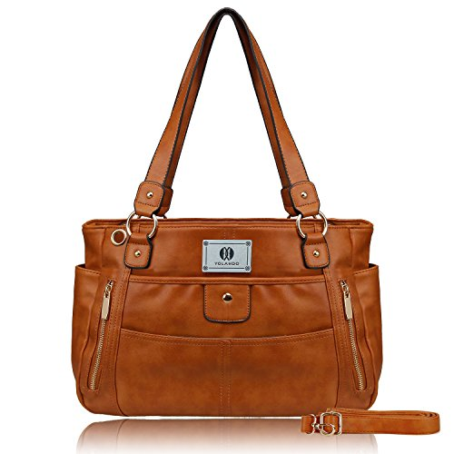 Double Front Pocket Handbag - YOLANDO Womens' Vegan Leather Zipper Tote Bag Top-handle Handbags Large Capacity Ladies' Purse YT0024 (Brown)
