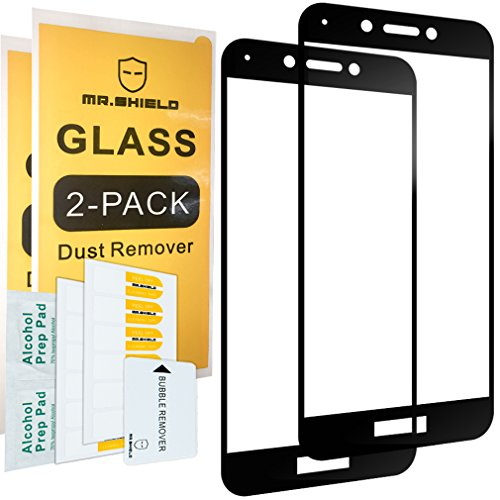 [2-PACK]-Mr Shield For Huawei Honor 6A [Tempered Glass] [Full Cover] [Black] Screen Protector with Lifetime Replacement Warranty