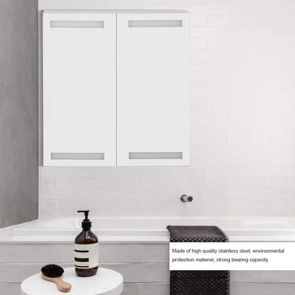 Greensen H/ängeschrank Badezimmerschrank LED Beleuchteter Badezimmerspiegelschrank Edelstahl Badschrank Wandschrank K/üchenschrank Regal mit Viel Stauraum Wei/ß