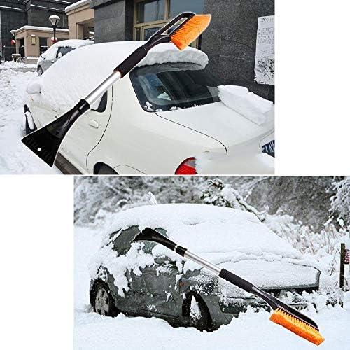 スノームーバーテレスコピック除雪ワイパー76-102cm、フォームグリップとソフトブリストルヘッド、フロストとアイススクレープ、カートラックSUVウィンターリムーバー