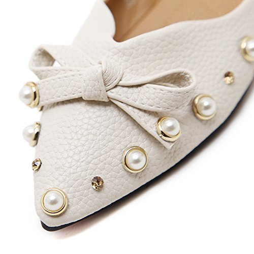 Flats Beaded Apricot Shoes Bows Toe Pointed AdeeSu Womens Urethane RYqwAA