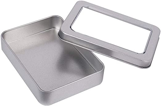 RENNICOCO Metal estaño Caja Plata contenedores Portable pequeña Caja de Almacenamiento Organizador casa Almacenamiento: Amazon.es: Hogar