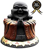 SPJ: Feng Shui Lucky Laughing Maitreya Buddha Statue Stood Activated Carbon Charcoal Carving Stone for Air Purification