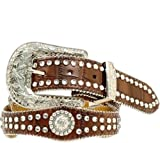 Nocona Girl's Faux Croc Print Ball Chain Edge Belt, Brown, 26