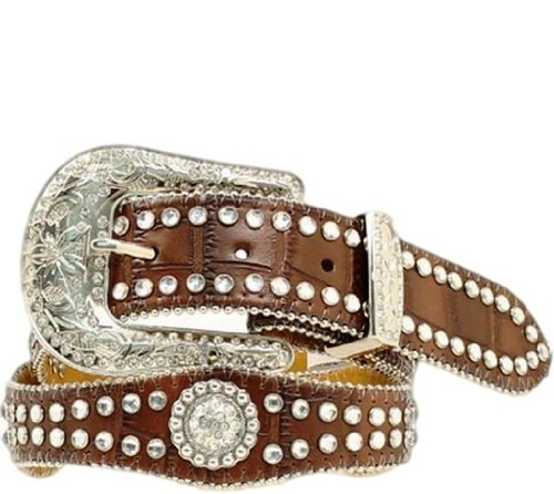 Nocona Girl's Faux Croc Print Ball Chain Edge Belt, Brown, 26