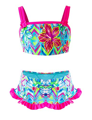 Girls Two-Piece Bikini, Flouncing Hawaii Floral Printing Swimsuit, Beach Bathing Suit for Vacation 7-8 Years (Lifeguard Kiddie Pool)