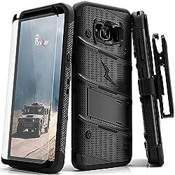 Samsung Galaxy S8 Case, Zizo [Bolt Series] w/ [Samsung Galaxy S8 Screen Protector] Kickstand [Military Grade DropTested] Holster Belt Clip - Galaxy S8