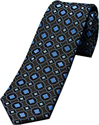 Zarrano Skinny Tie 100% Silk Woven Brown/Blue Geometric Tie