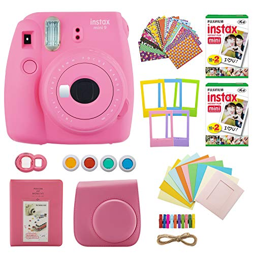 Fujifilm INSTAX Mini 9 Instant Camera (Flamingo Pink) with Twin Instant Film Packs (40 Shots) and 7-1 Accessory Gift Bundle (4 Items)