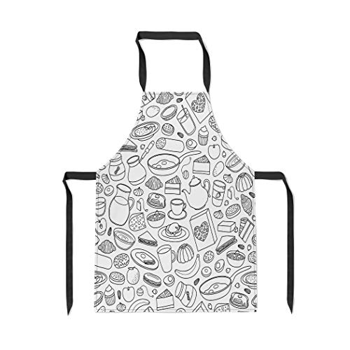 Pinbeam Apron Orange Apple Black and White Buffet Breakfast Dishes with Adjustable Neck for Cooking Baking Garden from Pinbeam