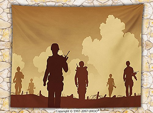[War Home Decor Fleece Throw Blanket Soldier Shadows with Military Costumes and Weapons Walking on Patrol Print Throw Brown Cream] (Shadow Panther Ninja Costumes)