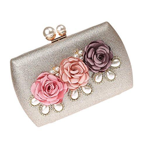 Shoulder Baoblaze with 2 Handbag Clutch Crystal Champagne Bag Purse Women Evening Flower Chains pFrF1YOW
