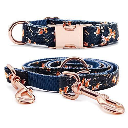 KUYOUGOU Dog Collar and Leash (6.6') in Set Wonderful Design & Insensitive Nylon - 3 Compartment Adjustable Leash - for Medium to Large ()