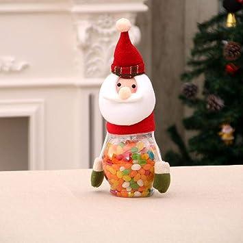 SPFAZJ Mesa de Navidad decoración Navidad decoración Infantil Regalos Santa muñeco de Nieve Ciervos Candy Jar
