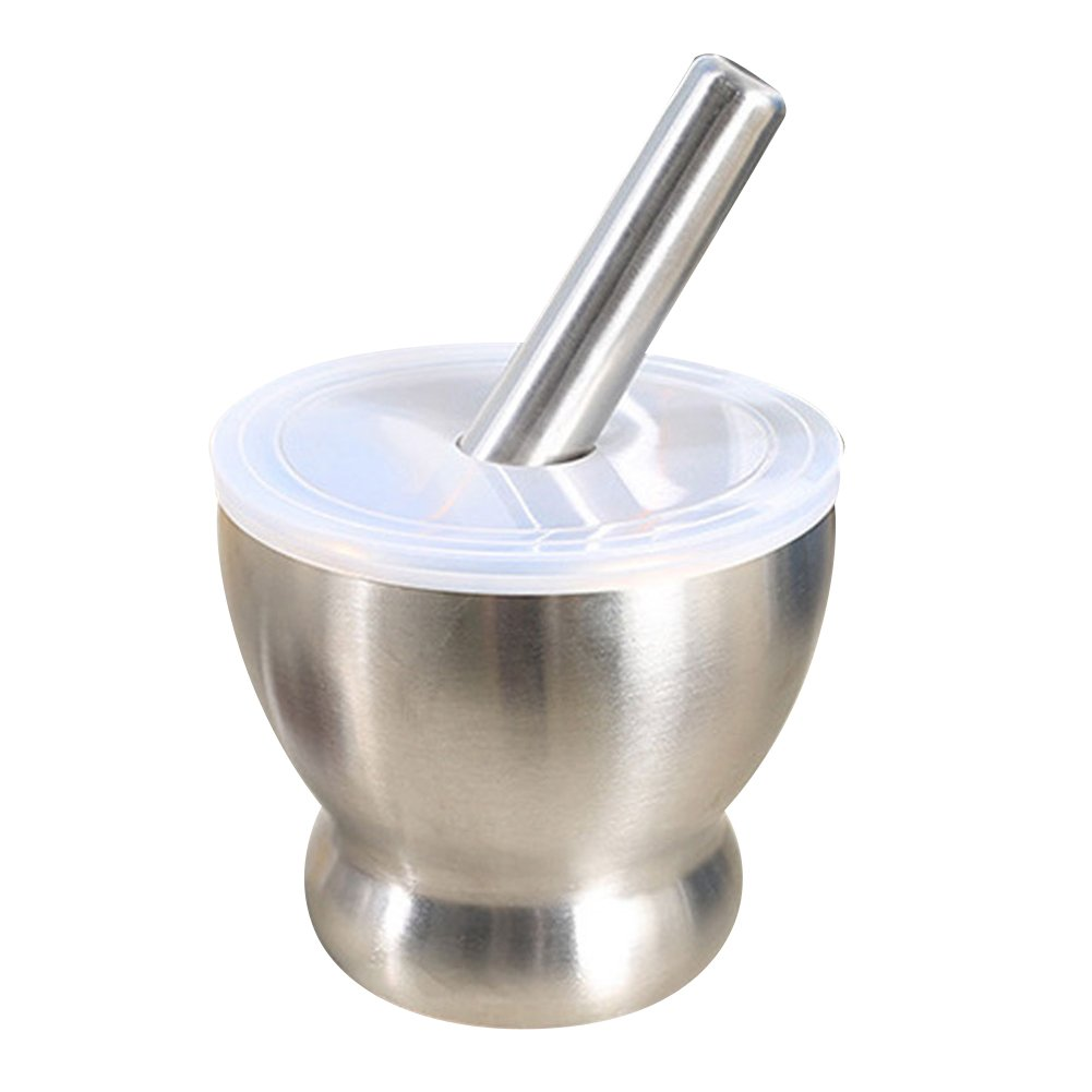 iecool Stainless Steel Metal Mortar and Pestle Garlic Canister,Medicinal Mortar Grinder with Lid Silver D10cm