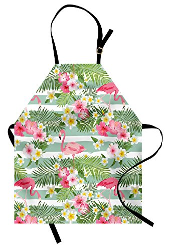 Ambesonne Flamingo Apron, Flamingos with Exotic Hawaiian Leaves Flowers on Striped Vintage Background, Unisex Kitchen Bib with Adjustable Neck for Cooking Gardening, Adult Size, Green Pink
