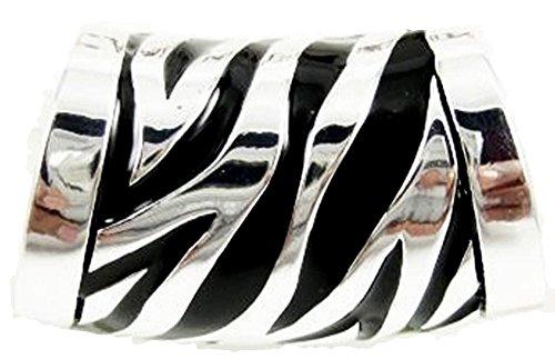 Zebra Print Enamel Ring (Zebra Print Scarf Ring Jewelry Accessory BT Black Silver Tone Trendy Fun Stylish)